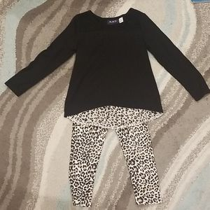 Girls Sweater and Animal Print Leggings Outfit